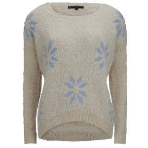 Love Knitwear Women's Large Snowflake Christmas Jumper - White