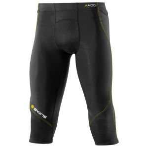 Skins Men's A400 3/4 Length Tights - Black/Yellow