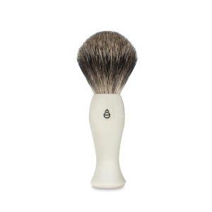 eShave Finest Badger Hair Shaving Brush Long Handle - White