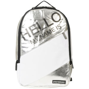 Sprayground Hello My Name Is Deluxe Backpack - Metallic Silver