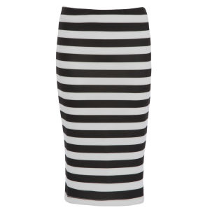 Damned Delux Women's Humbug Strip Scuba Pencil Skirt - Black/White