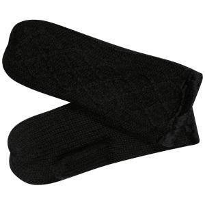 Women's Cable Knit Fingerless Mittens - Black
