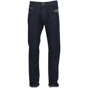 Brave Soul Men's Berwick Mid Rise Jeans With Creasing Effect - Dark Indigo