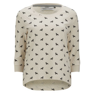 Only Women's Cameron Dog Print Sweatshirt - Cloud Dancer
