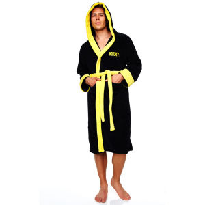 Rocky Adult Towelling Bathrobe - Black (One Size)