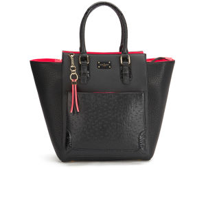Paul's Boutique Melissa Ostrich Trim Tote Bag - Black/Coral