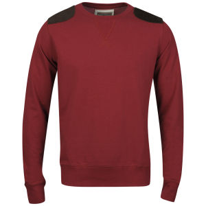 Brave Soul Men's Udolpho Crew Neck Sweatshirt with Cord Patches - Red