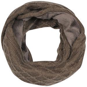 Women's Cable Knit Fur Trim Snood - Mink