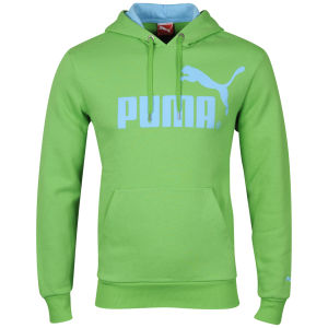 Puma Men's Logo Hooded Fleece Sweatshirt - Green/Aqua