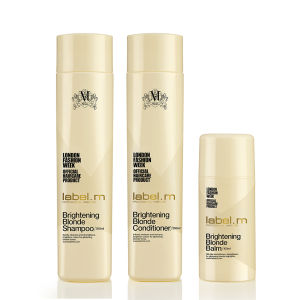 label.m Brightening Blonde Shampoo (300 ml), Conditioner (300 ml) og Balm (100 ml) Bundle