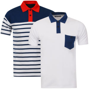 Tom Frank Men's 2-Pack Polo Shirt - White Solid & Navy Stripe