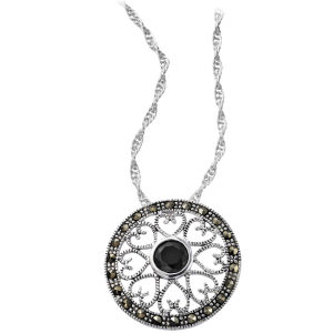 Silver Plated Onyx Circle Design Pendant