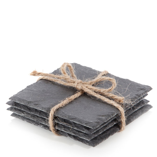Natural Living 4 Piece Square Slate Coasters Iwoot