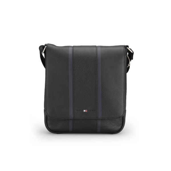 Tommy Hilfiger Men's Ridley Leather Reporter Bag - Black Mens ...