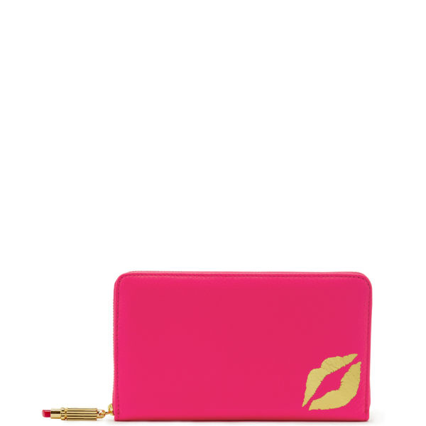 Lulu Guinness Grainy Leather Continental Wallet - Shocking Pink