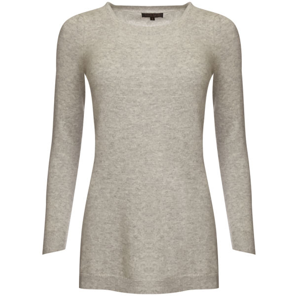 Cocoa Cashmere Women's Side Split Crew Jumper - Light Grey