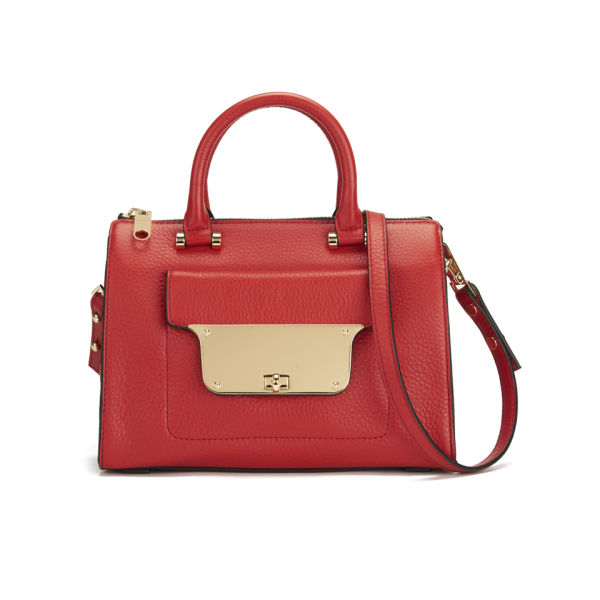 MILLY Isabella Leather Small Tote Bag - Red