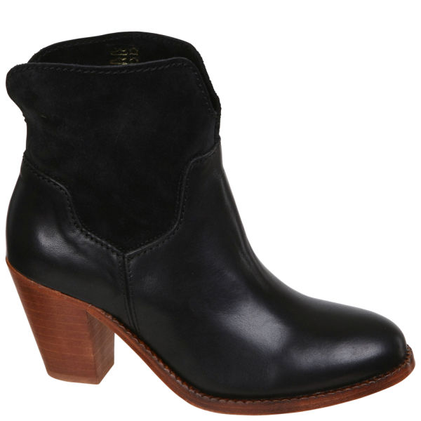 H Shoes by Hudson Women's Brock Suede Heeled Cowboy Boots - Black