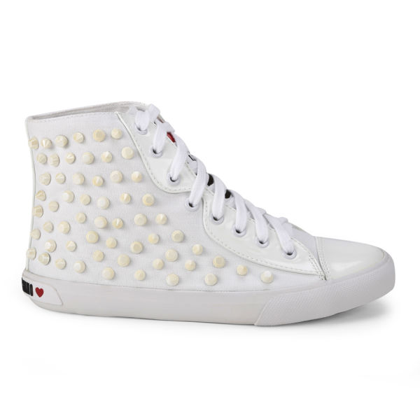Love Moschino Women's Patent Stones Hi-Top Trainers - White