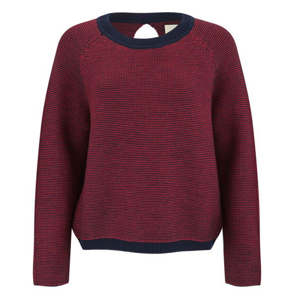Folk Women's Slouch Crew Knitted Jumper with Open Back Detail - Red/Navy