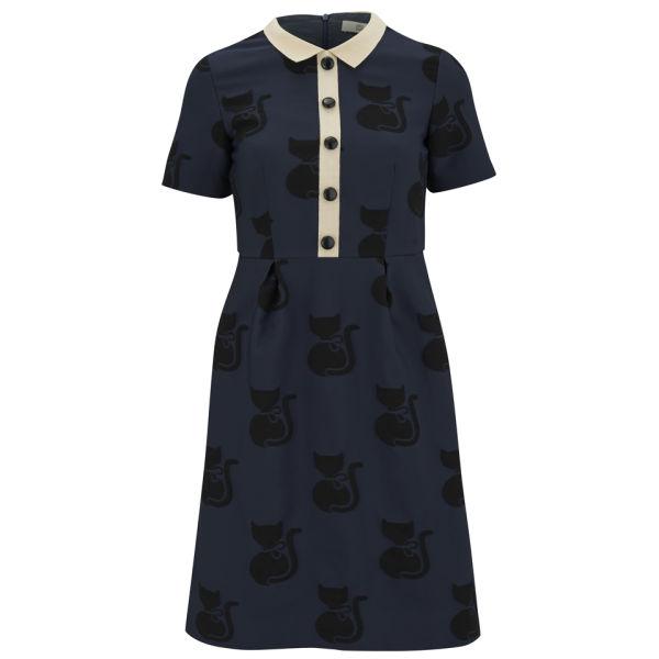 Orla Kiely Women's Big Cat Jacquard Dress with Collar - Midnight