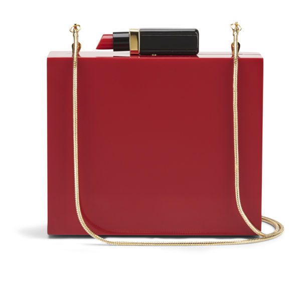 Lulu Guinness Perspex Chloe Lipstick Box Clutch Bag - Red