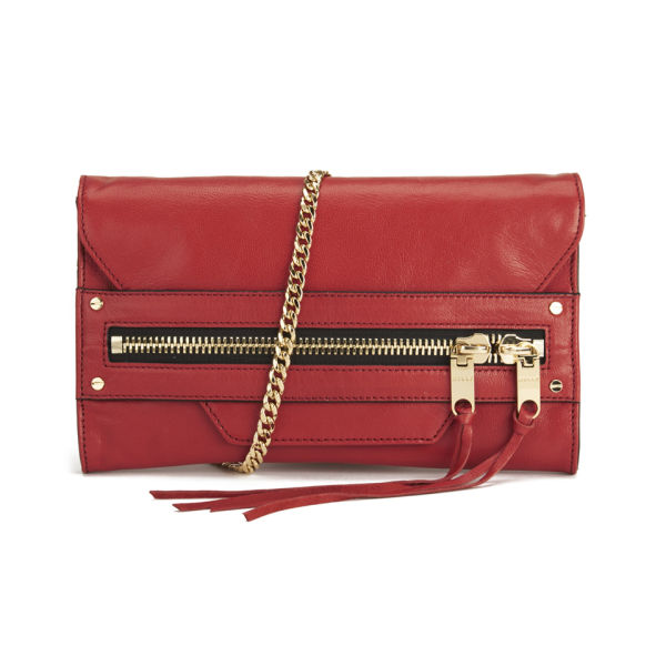 MILLY Riley Leather Clutch Bag - Red