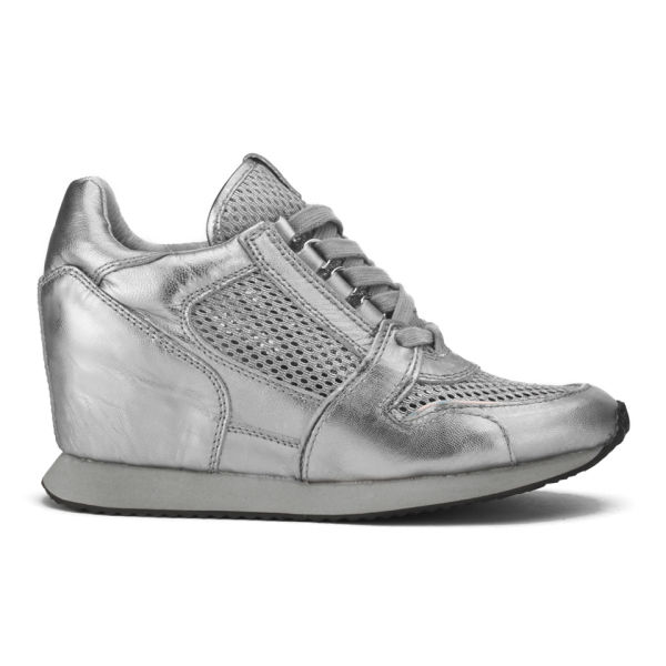 Ash Women's Dean Mesh Leather Metallic Low Wedged Trainers - Silver