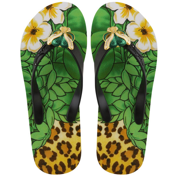 Miss Trish Women's Leopard Wedged Flip Flops - Black