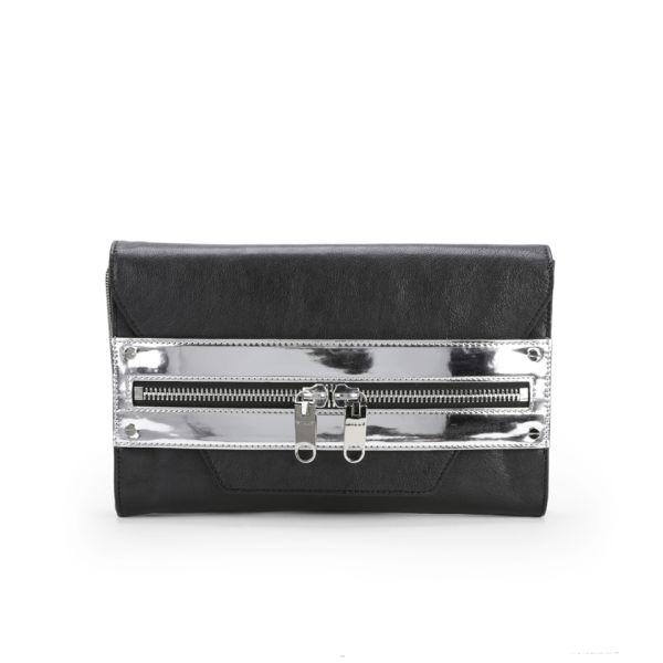 MILLY Riley Hand Through Hologram Strap Leather Clutch Bag - Black