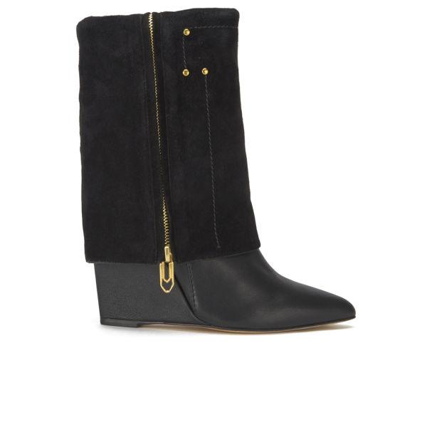 Jerome Dreyfuss Women's Biboots Fold Over Wedged Boots - Black
