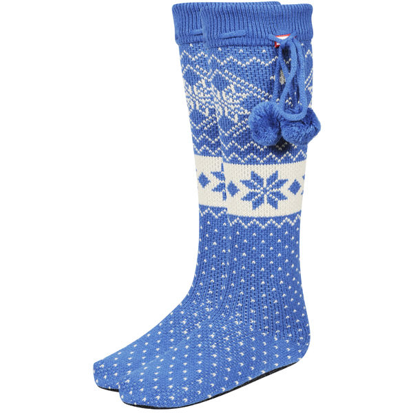 Hunter Women S Fair Isle Slipper Socks Petrol Blue