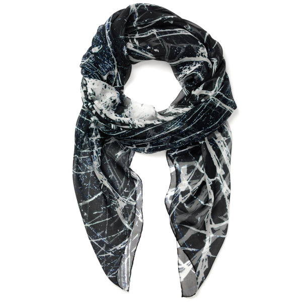 carr the bullet square silk chiffon scarf ink