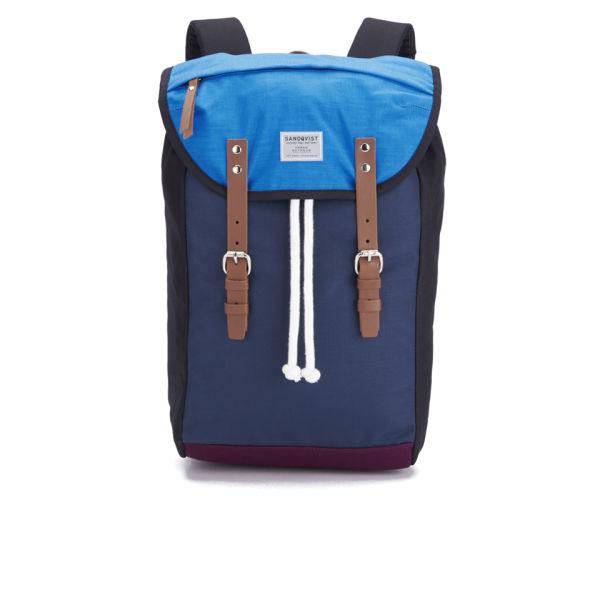 Sandqvist Men's Hans Backpack - Multi Blue/Plum