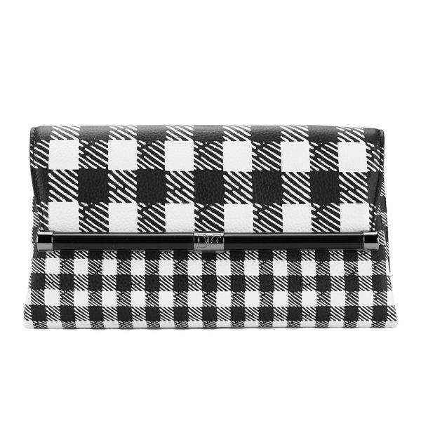 Diane von Furstenberg Women's Envelope Gingham Leather Clutch Bag - Black/White