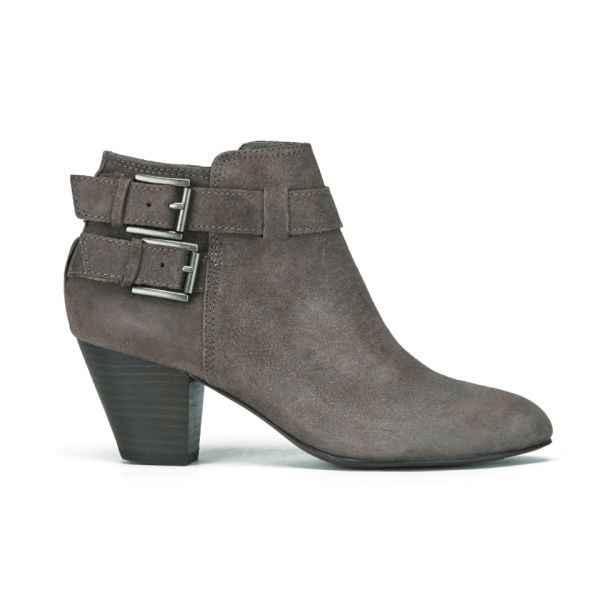 Ash Women's Jason Buckle Suede Heeled Ankle Boots - Topo