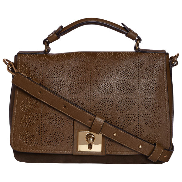 Orla Kiely Women's Sixties Stem Punched Leather Rosemary Bag - Olive