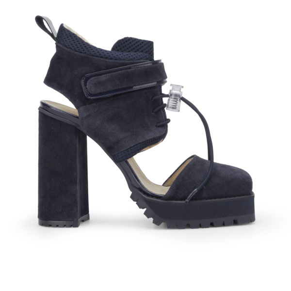 Wood Wood Women's Yolande Suede/Patent Leather/Mesh High Heels - Navy
