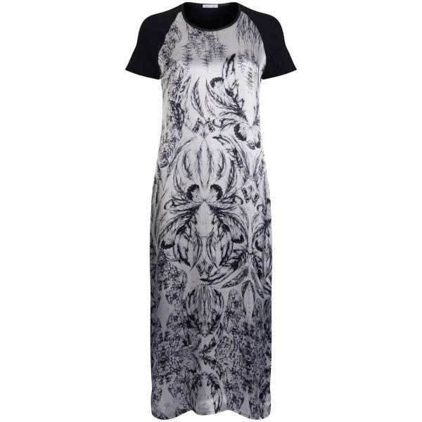 Draw In Light Women's Acid Butterfly Silk Maxi Dress - Bleach On Black