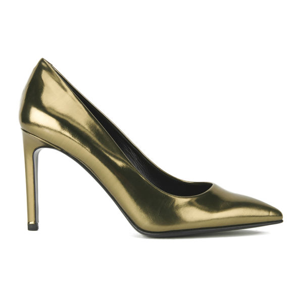 BOSS Hugo Boss Women's Lia Leather Heeled Court Shoes - Gold