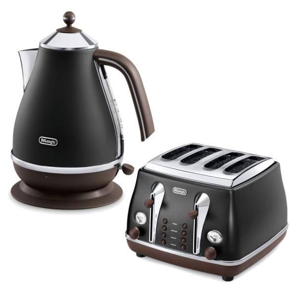 De Longhi Icona Vintage 4 Slice Toaster And Kettle Bundle Black Image 1