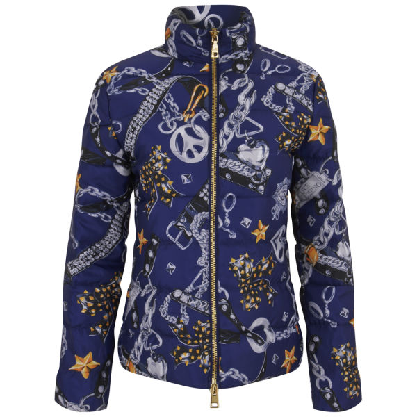 Love Moschino Women's Print Puffer Down Jacket - Blue Print