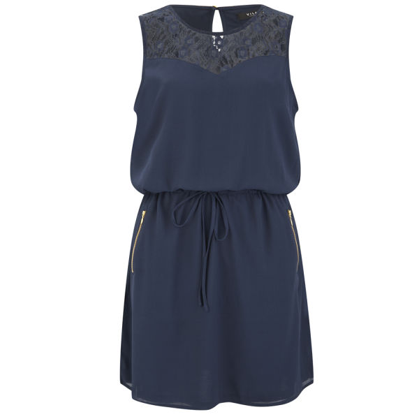 VILA Women's Titra Summer Dress - Navy