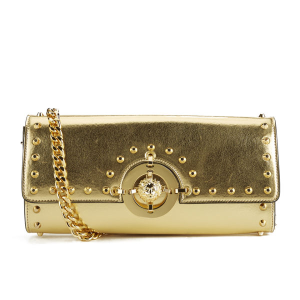 30d90c280a53 Versus Versace Women s Metalic Hardware Stud Clutch Bag - Gold  Image 1