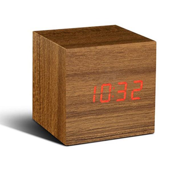 Gingko Cube Click Clock - Teak