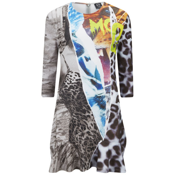 McQ Alexander McQueen Women's Ruffle Print Dress - Grey/Multi