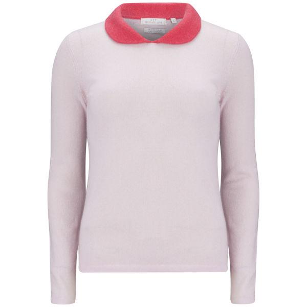 Delicate Love Women's Exclusive Constanze Collar Detail Cashmere Jumper - Pink/Red