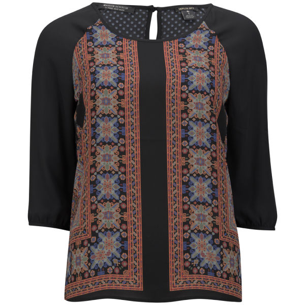 Maison Scotch Women's Scarf Print Blouse - Black/Multi