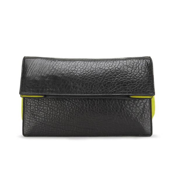 McQ Alexander McQueen Women's Small Leather Clutch Bag - Black/Lime