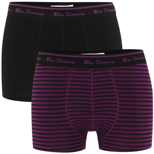 Ben Sherman Men's 2-Pack Boxers - Black/Black and Purple Stripe